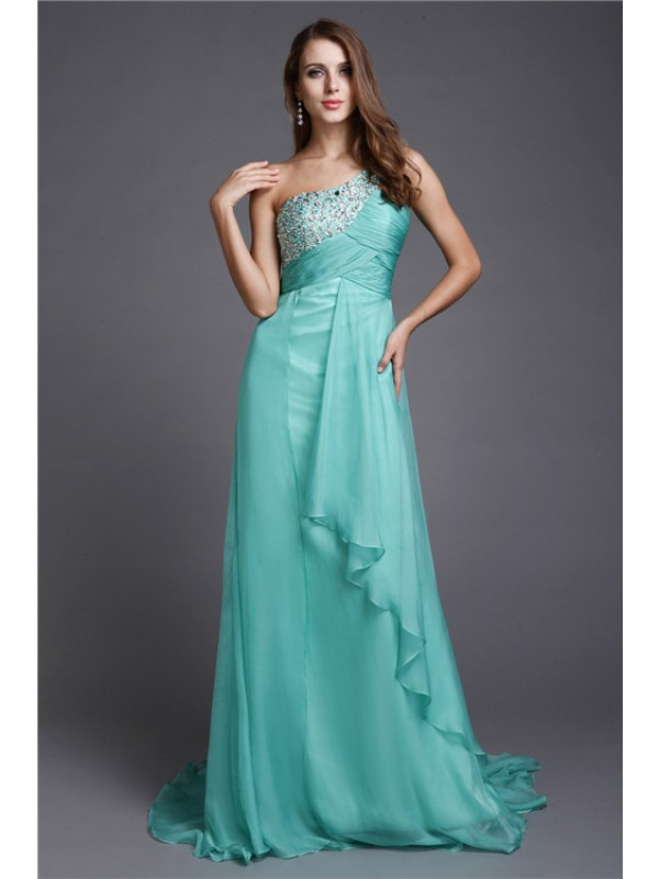 A-Line/Princess Beading One-Shoulder Sleeveless Sweep/Brush Train Chiffon Dresses
