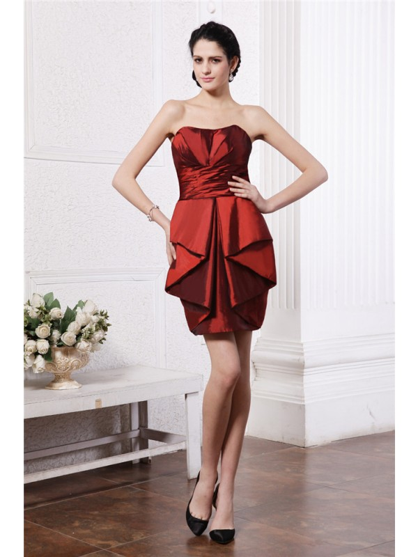Sheath/Column Pleats Strapless Sleeveless Short/Mini Taffeta Dresses