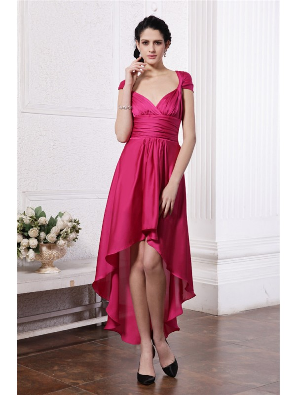 Sheath/Column Pleats Straps Sleeveless Asymmetrical Chiffon Dresses