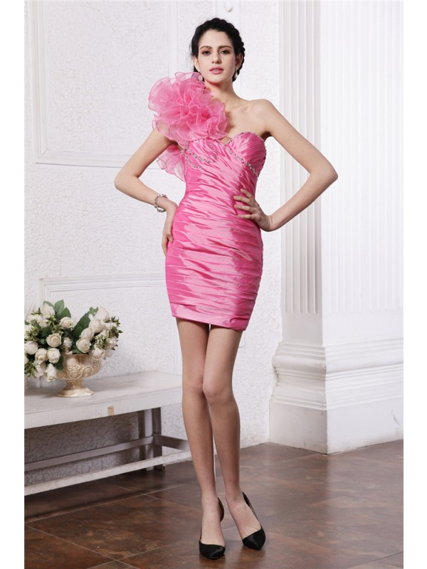 Sheath/Column Beading One-Shoulder Sleeveless Short/Mini Taffeta Dresses
