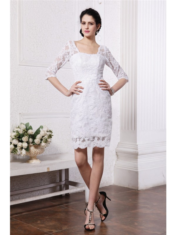 Sheath/Column Lace Bateau 1/2 Sleeves Short/Mini Lace Wedding Dresses