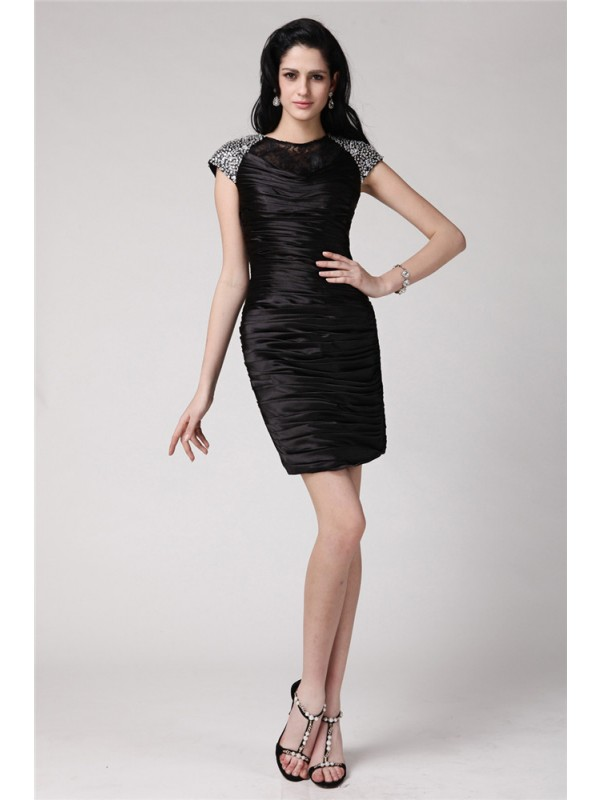 Sheath/Column Beading Scoop Short Sleeves Short/Mini Elastic Woven Satin Dresses