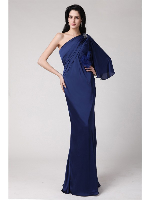 Trumpet/Mermaid Feathers/Fur One-Shoulder Sleeveless Floor-Length Chiffon Dresses