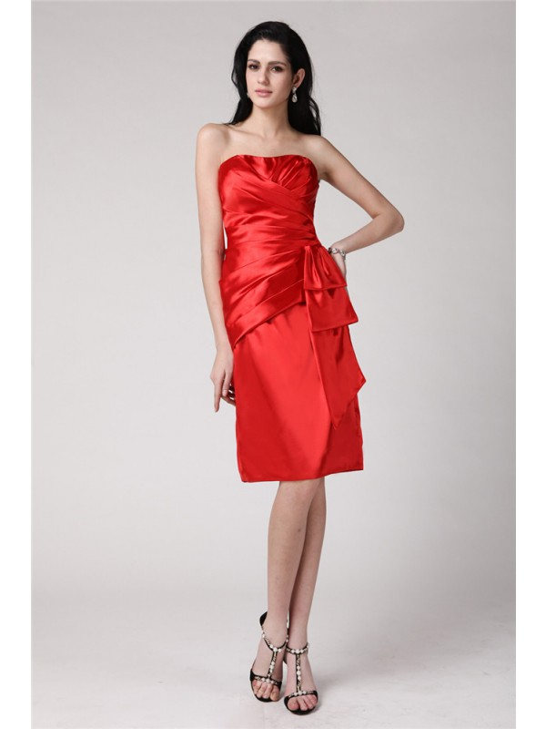 Sheath/Column Pleats Strapless Sleeveless Knee-Length Elastic Woven Satin Dresses