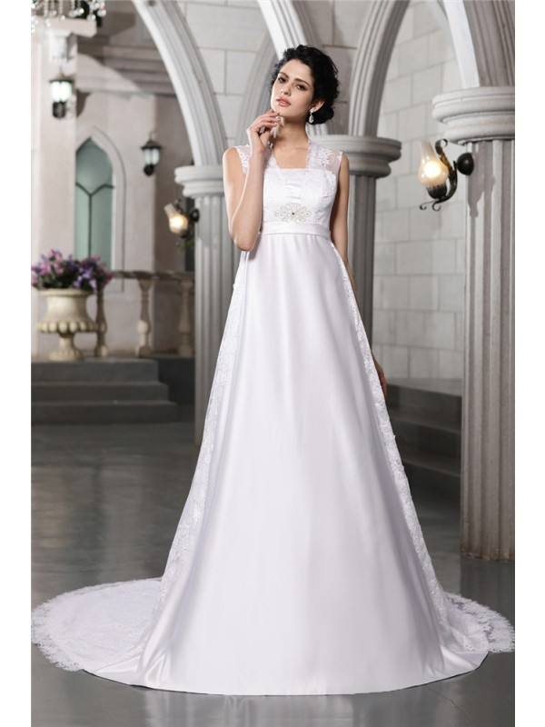 A-Line/Princess Lace Straps Sleeveless Cathedral Train Satin Wedding Dresses