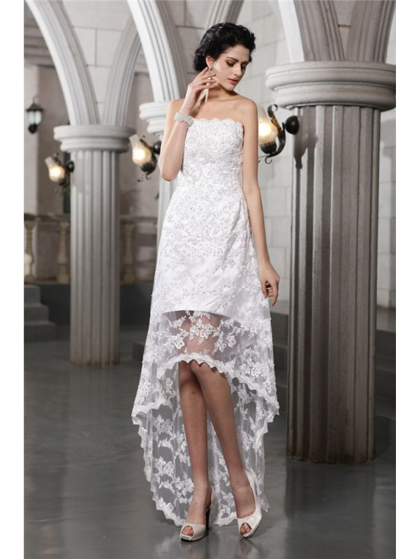Sheath/Column Beading Strapless Sleeveless Asymmetrical Lace Wedding Dresses