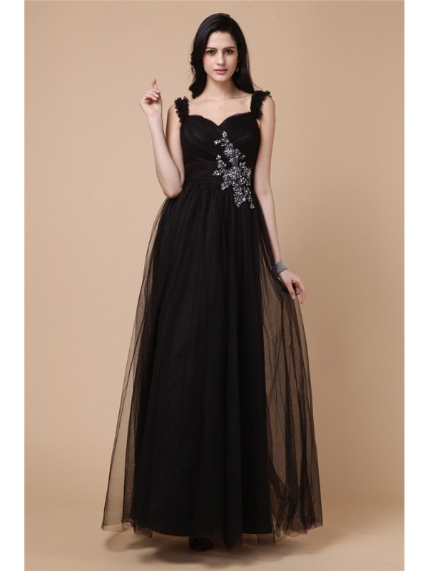A-Line/Princess Beading Straps Sleeveless Ankle-Length Net Dresses