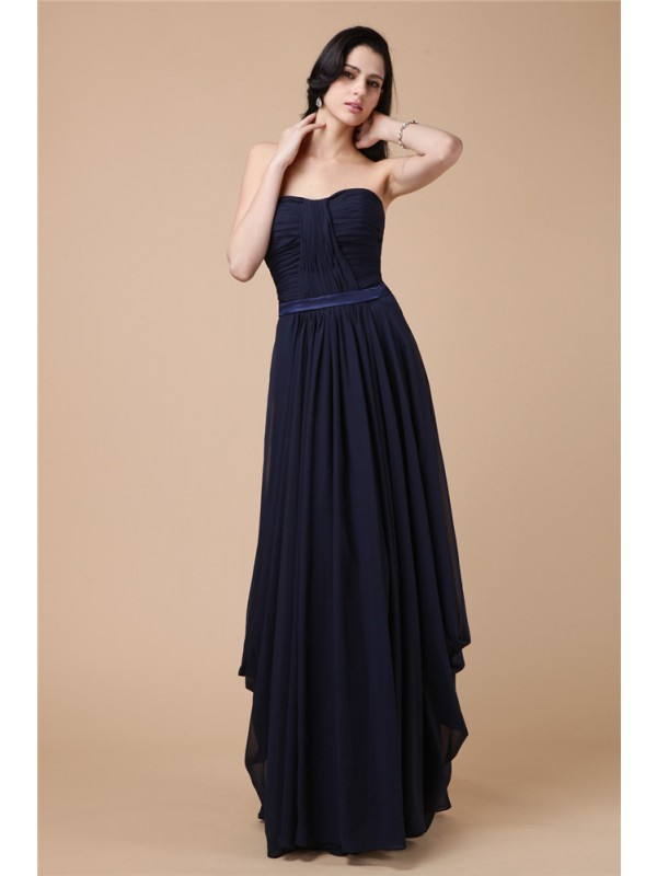 Sheath/Column Pleats Strapless Sleeveless Floor-Length Chiffon Dresses