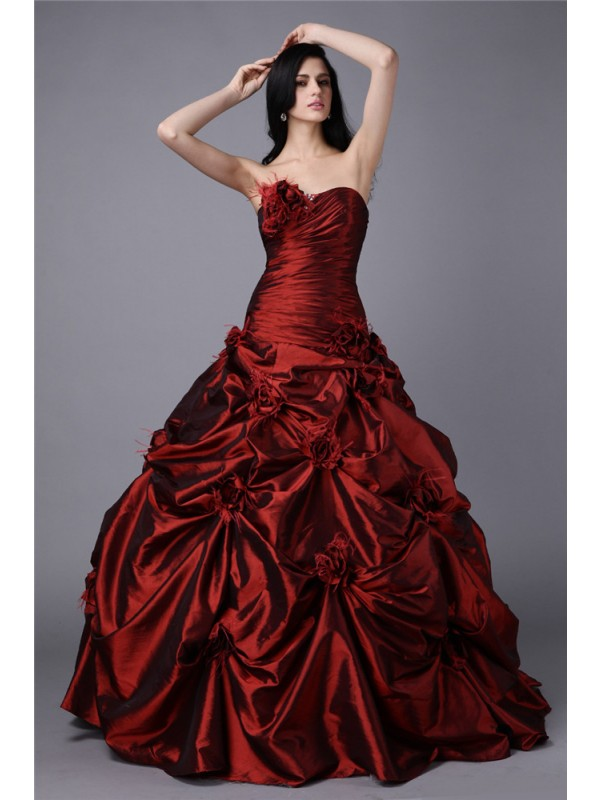 Ball Gown Hand-Made Flower Strapless Sleeveless Floor-Length Taffeta Dresses