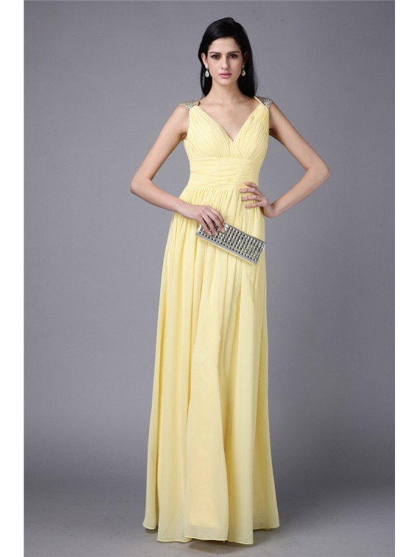 Sheath/Column Beading V-neck Sleeveless Floor-Length Chiffon Dresses