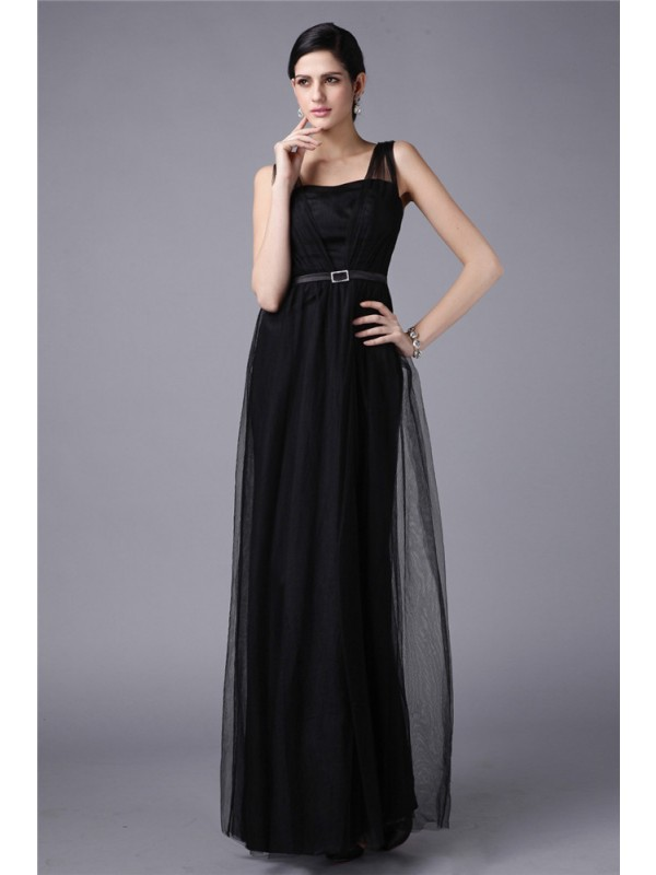 Sheath/Column Sash/Ribbon/Belt Straps Sleeveless Floor-Length Net Dresses