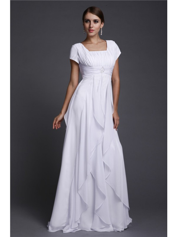 A-Line/Princess Ruffles Square Short Sleeves Floor-Length Chiffon Dresses