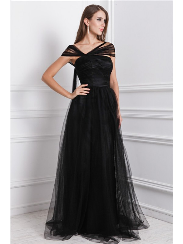 A-Line/Princess Ruffles Bateau Sleeveless Floor-Length Net Dresses