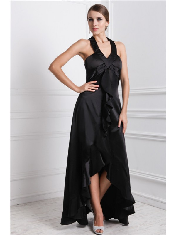 A-Line/Princess Ruffles Bateau Sleeveless Asymmetrical Silk like Satin Dresses