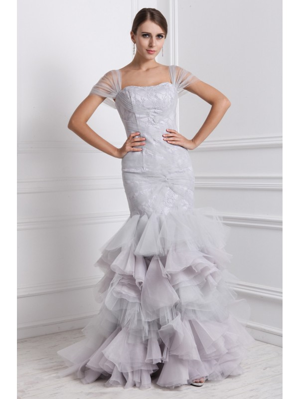 Trumpet/Mermaid Ruffles Straps Short Sleeves Floor-Length Organza Dresses