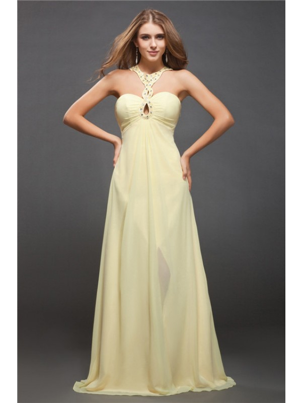 Sheath/Column Beading Halter Sleeveless Floor-Length Chiffon Dresses