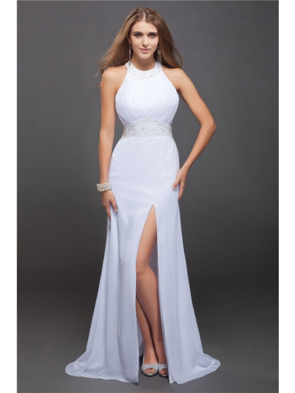 Sheath/Column Beading Jewel Sleeveless Floor-Length Chiffon Dresses