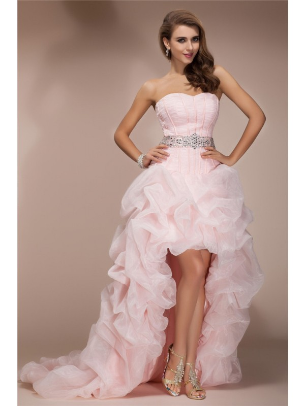 A-Line/Princess Beading Sweetheart Sleeveless Asymmetrical Organza Dresses