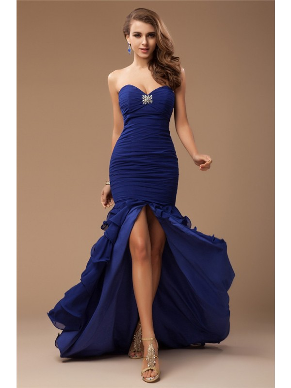 Trumpet/Mermaid Beading Sweetheart Sleeveless Sweep/Brush Train Chiffon Dresses