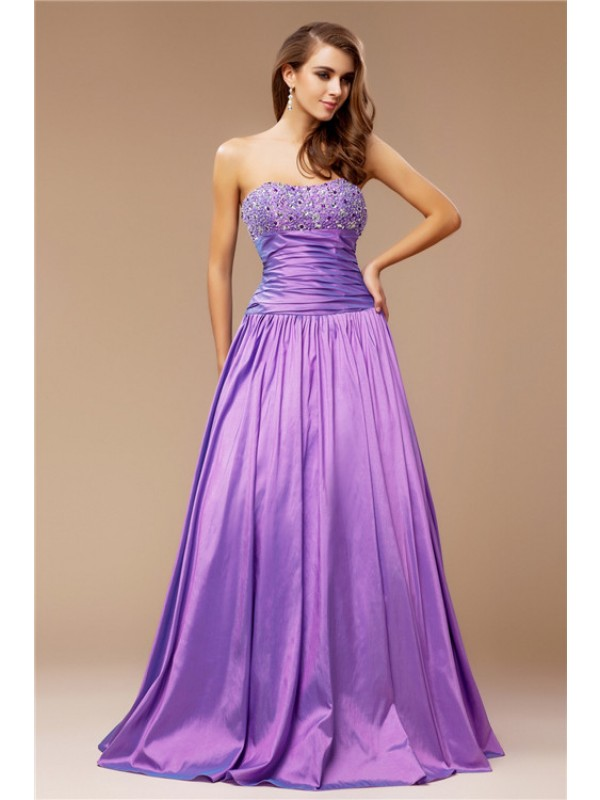 A-Line/Princess Beading Strapless Sleeveless Floor-Length Taffeta Dresses