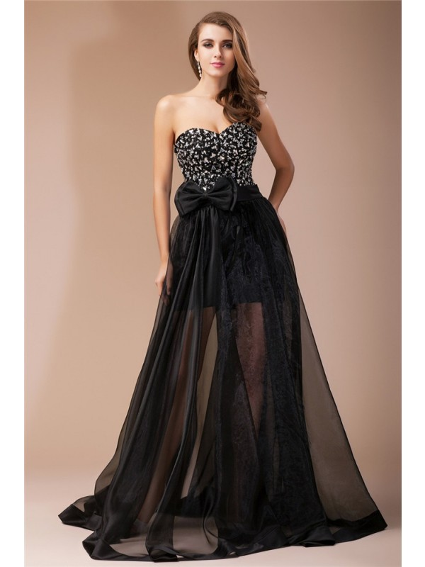 Sheath/Column Beading Sweetheart Sleeveless Floor-Length Elastic Woven Satin Dresses