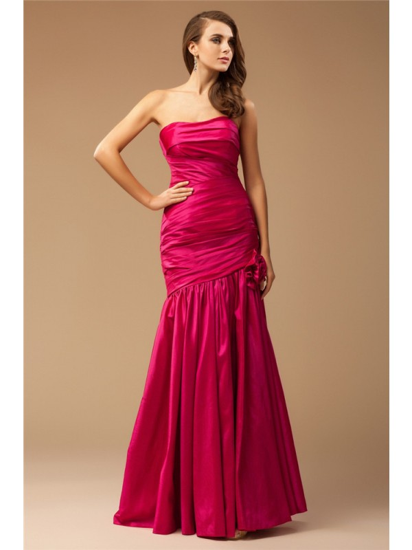 Trumpet/Mermaid Ruffles Strapless Sleeveless Floor-Length Taffeta Dresses