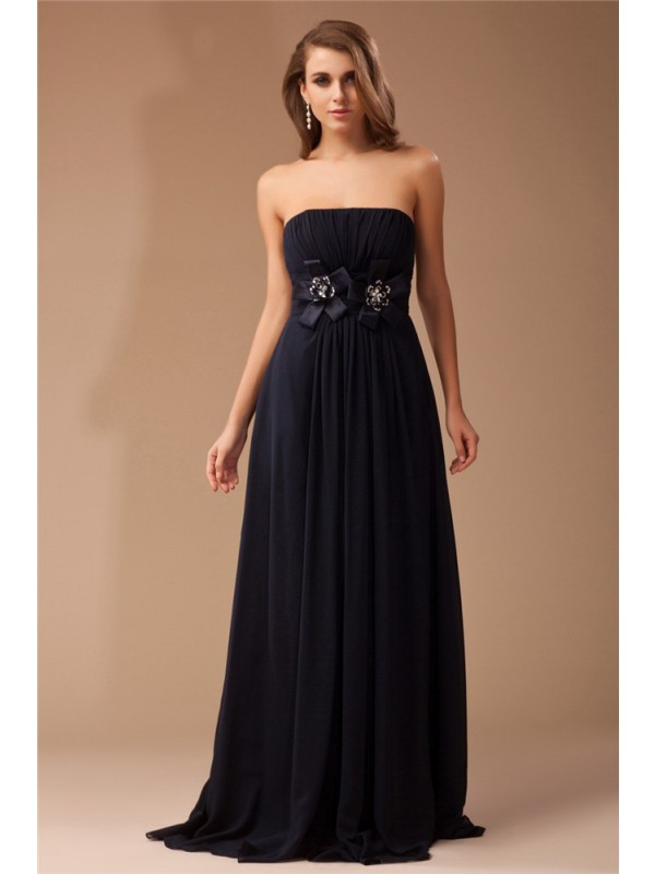 Sheath/Column Ruffles Strapless Sleeveless Floor-Length Elastic Woven Satin Dresses