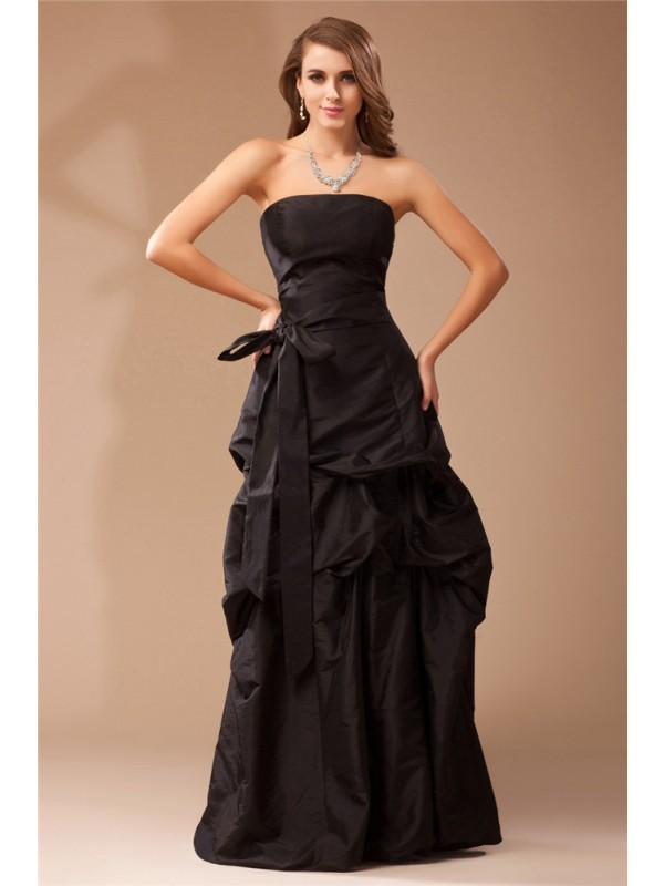A-Line/Princess Ruffles Strapless Sleeveless Floor-Length Taffeta Dresses