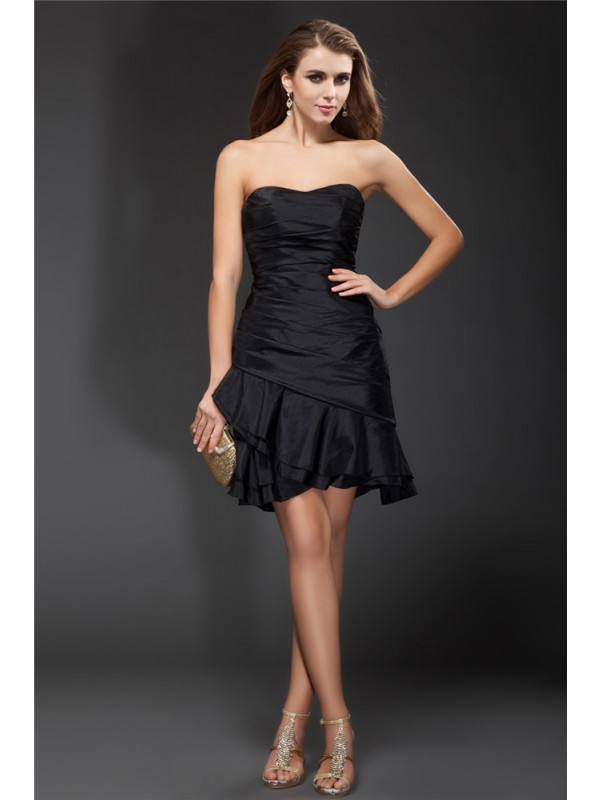 A-Line/Princess Ruffles Strapless Sleeveless Short/Mini Taffeta Dresses