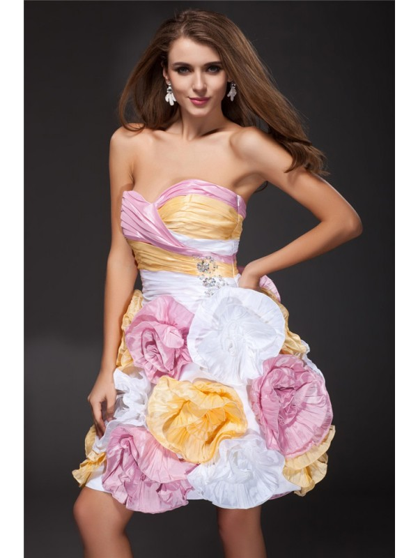 A-Line/Princess Ruffles Sweetheart Sleeveless Short/Mini Taffeta Dresses