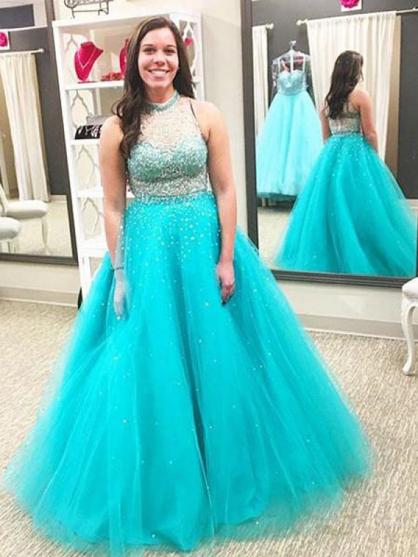 Ball Gown Beading High Neck Sleeveless Floor-Length Tulle Plus Size Dresses