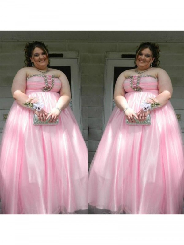 A-Line/Princess Beading Strapless Sleeveless Floor-Length Satin Plus Size Dresses