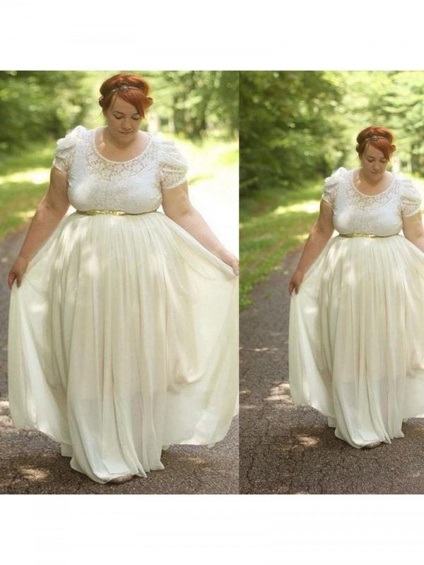 A-Line/Princess Lace Scoop Short Sleeves Floor-Length Chiffon Plus Size Dresses