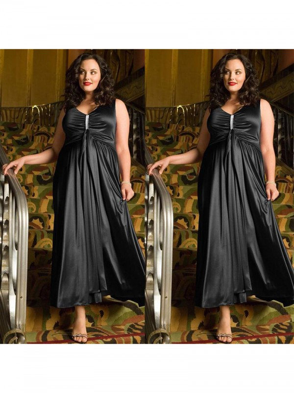 A-Line/Princess Beading V-neck Sleeveless Ankle-Length Elastic Woven Satin Plus Size Dresses