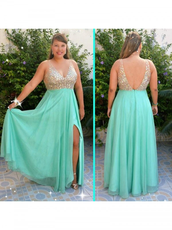 A-Line/Princess Beading V-neck Sleeveless Floor-Length Chiffon Plus Size Dresses
