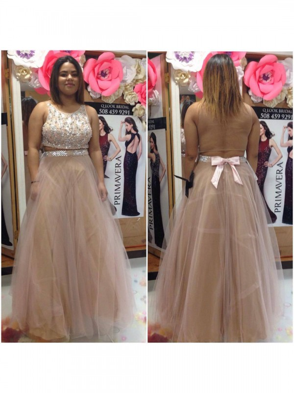 A-Line/Princess Beading Scoop Sleeveless Floor-Length Tulle Plus Size Dresses