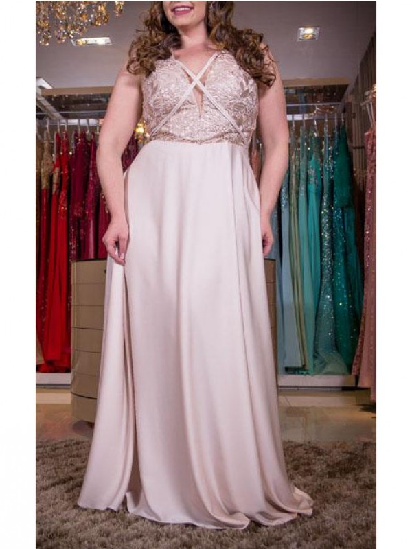 A-Line/Princess Applique V-neck Sleeveless Floor-Length Elastic Woven Satin Plus Size Dresses