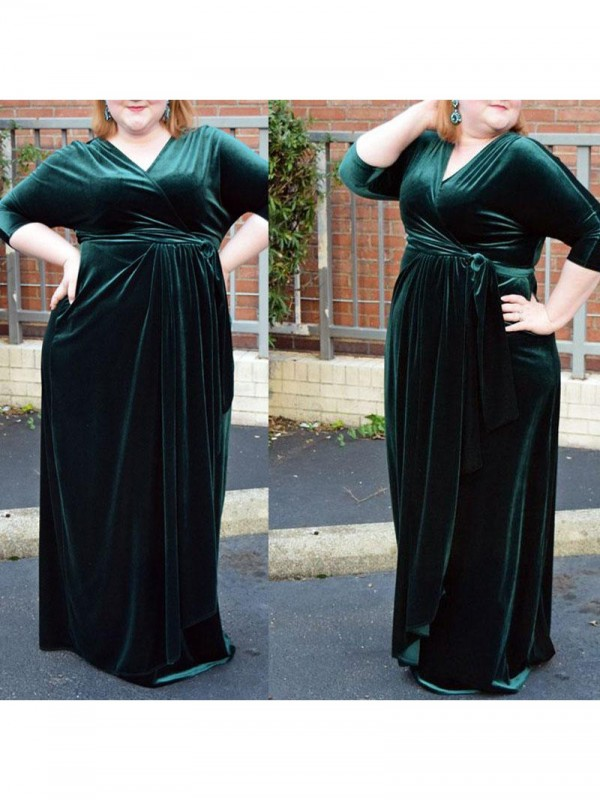Sheath/Column Ruched V-neck 1/2 Sleeves Floor-Length Velvet Plus Size Dresses