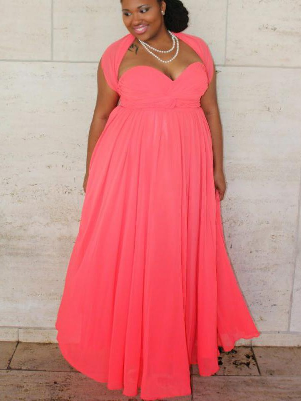 A-Line/Princess Ruched Sweetheart Sleeveless Floor-Length Chiffon Plus Size Dresses