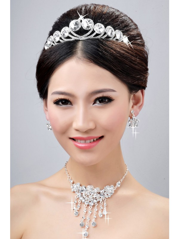 New Style Elegant Alloy Clear Crystals Flower Wedding Headpieces Necklaces Earrings Set