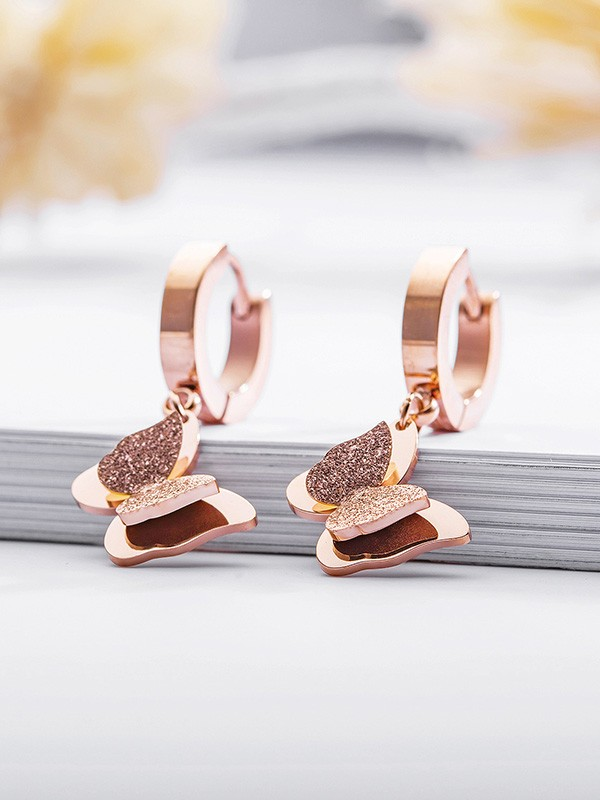 Awesome Titanium With Butterfly Earrings