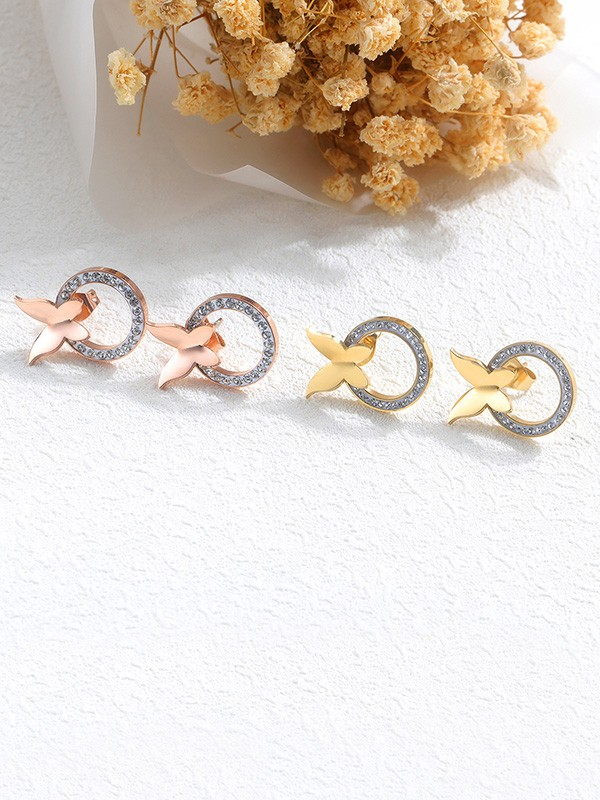 Amazing Titanium With Butterfly Earrings