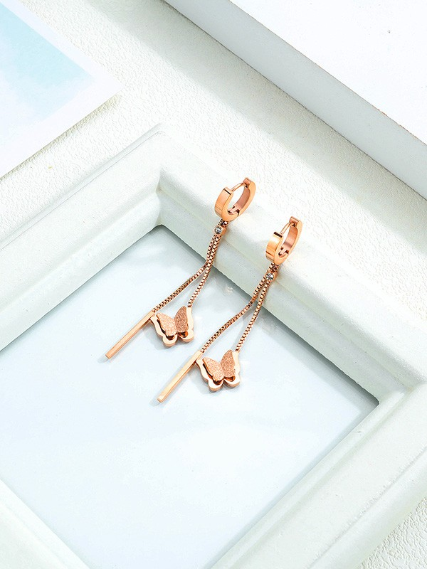 Pretty Titanium With Butterfly Earrings