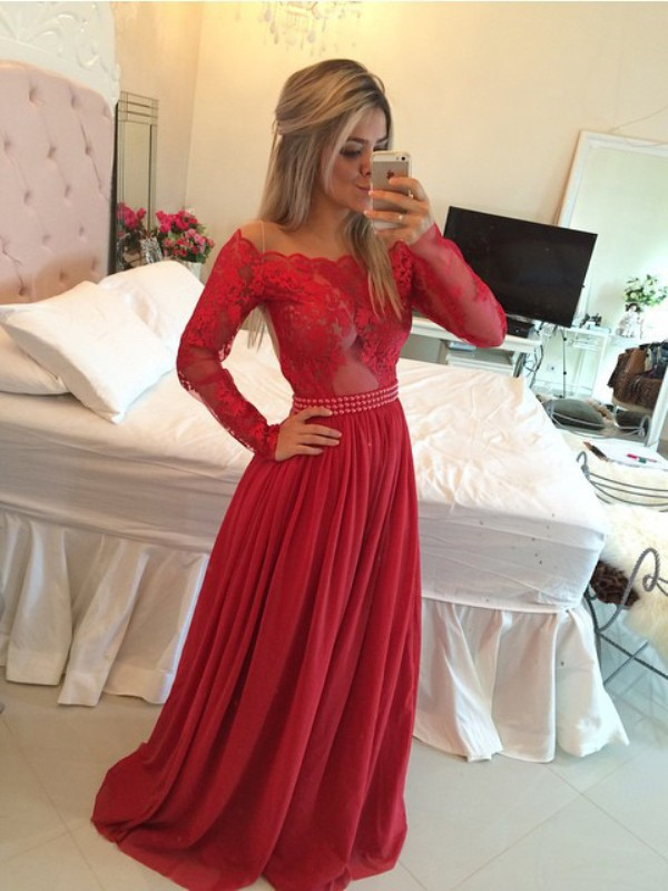 A-Line/Princess Applique Off-the-Shoulder Long Sleeves Sweep/Brush Train Chiffon Dresses