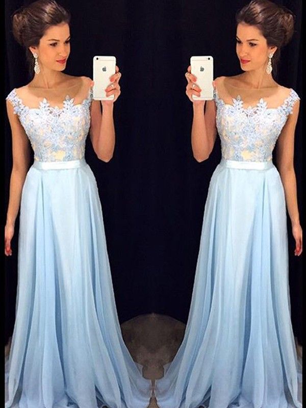 A-Line/Princess Applique Sheer Neck Sleeveless Sweep/Brush Train Chiffon Dresses