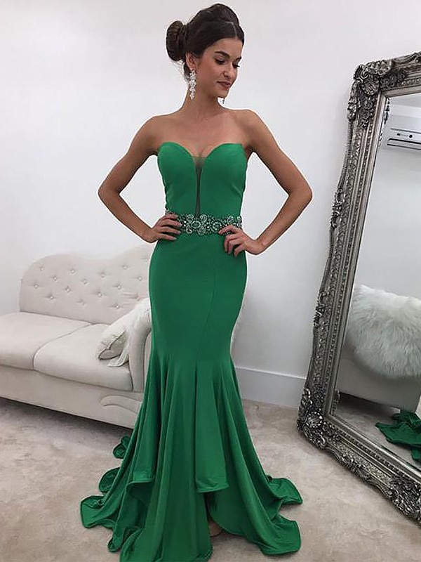 514d595236593 Trumpet Mermaid Ruffles Sweetheart Sleeveless Sweep Brush Train Satin  Dresses