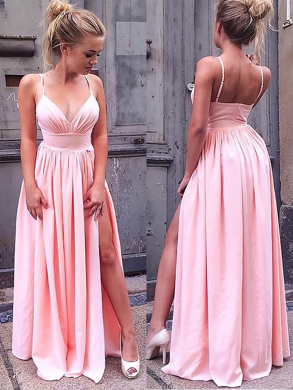 A-Line/Princess Ruched Straps Sleeveless Floor-Length Silk like Satin Dresses