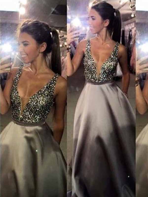 A-Line/Princess Beading V-neck Sleeveless Sweep/Brush Train Satin Dresses