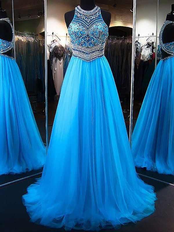 A-Line/Princess Beading Jewel Sleeveless Sweep/Brush Train Tulle Dresses