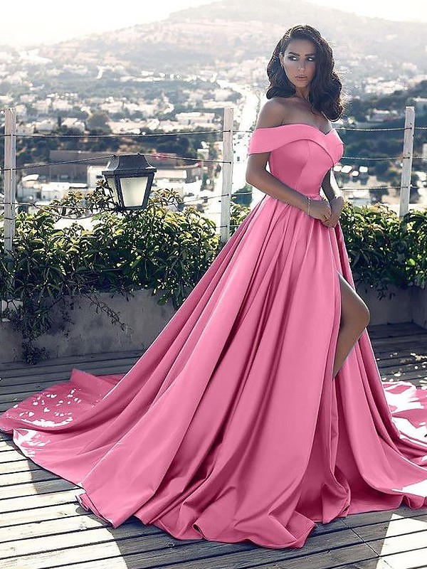 A-Line/Princess Ruffles Off-the-Shoulder Sleeveless Court Train Satin Dresses